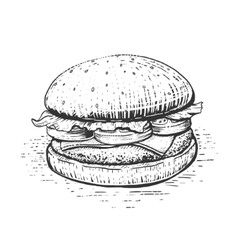 Burger engraving style vector image vector image