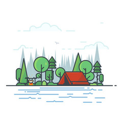 camping tent in the woods vector image