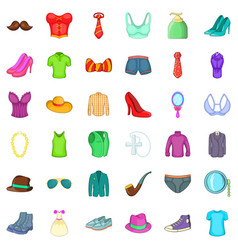 clothes and shoes icons set cartoon style vector image vector image
