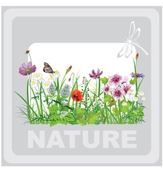 Green grass and flowers landscape natural vector