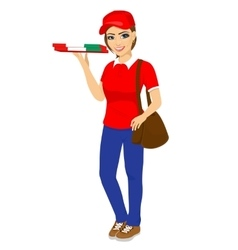 Pizza delivery girl holding cardboard box vector