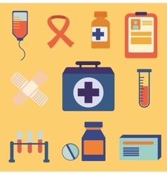 Set of medical icons flat design colorful vector image