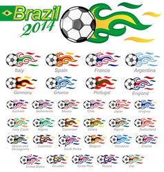 soccer ball set with flag flame vector image