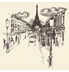 Streets paris france vintage engraved hand drawn vector