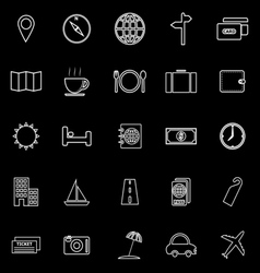 Travel line icons on black background vector image
