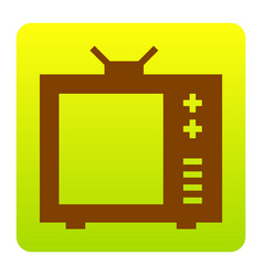tv sign brown icon at green vector image