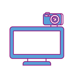 computer monitor with camera web gadget vector image