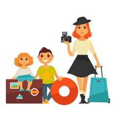family people travel flat icons woman and vector image vector image