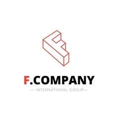 isometric line style F letter logo Company vector image vector image