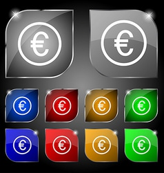Euro icon sign Set of ten colorful buttons with vector image