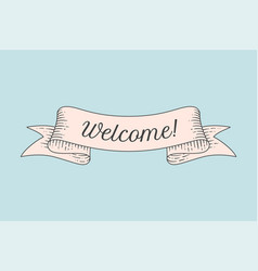 greeting card with ribbon and word welcome vector image vector image
