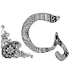 letter G decorated in the style of mehndi vector image