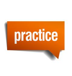 practice orange speech bubble isolated on white vector image vector image