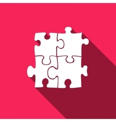 Puzzles icon with long shadow vector image