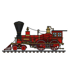 the vintage red american steam locomotive vector image vector image