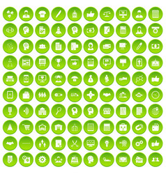 100 business strategy icons set green circle vector