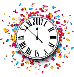 2017 New Year clock background vector