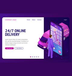24 7 online delivery banner vector