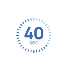40 second timer clock 40 sec stopwatch icon vector
