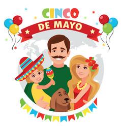 a happy family cinco de mayo vector image