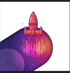 a rocket space travel to vector image