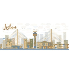 abstract lisbon city skyline vector image