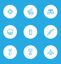 army outline icons set collection of cranium vector image