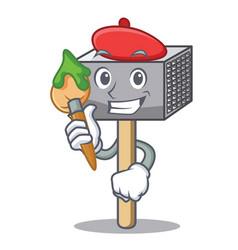 artist character of metallic meat tenderizer vector image