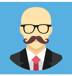 Bald Man with Mustache in Business Suit Ico vector