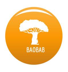 baobab tree icon orange vector image