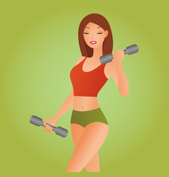 beautiful fitness woman with lifting dumbbells vector image
