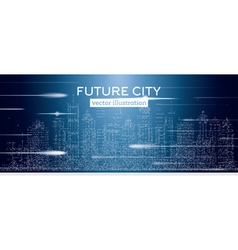 Big city with neon skyscrapers vector
