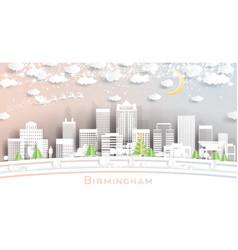 Birmingham alabama usa city skyline in paper cut vector