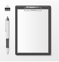 black clipboard with blank white paper sheet and vector image
