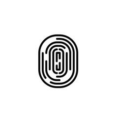 black fingerprint in flat style on blank vector image