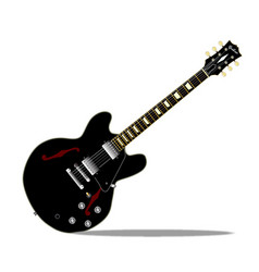 Black semi solid guitar vector