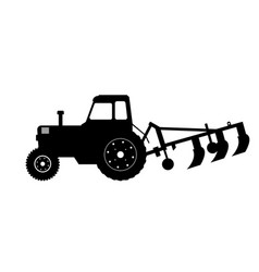 black silhouette tractor with plow vector image
