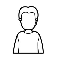 black thick contour caricature faceless half body vector image