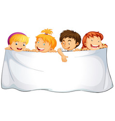 blank cloth with happy children vector image