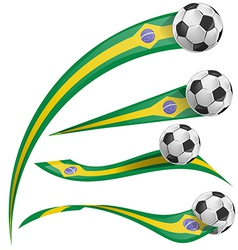 brazil flag set with soccer ball vector image