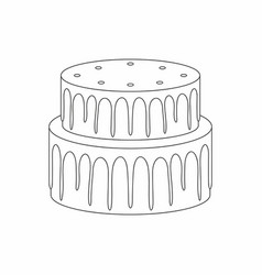 Cake thin line style vector