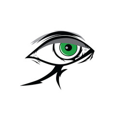 cartoon angry green horus god eyes for comics vector image