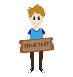 cartoon boy holding a sign for your text vector image