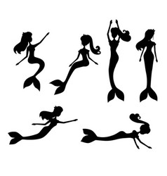 Cartoon mermaids silhouette vector