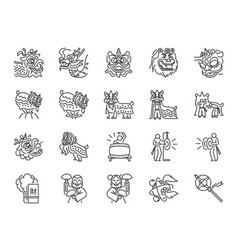 Chinese lion dance line icon set vector