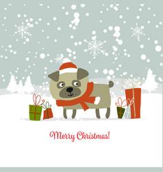 Christmas card santa dog with gifts symbol of vector