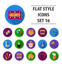 circus set icons in flat style big collection vector image