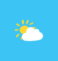 cloud and sun flat color vector image