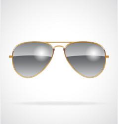 Cool aviator sunglasses chrome lenses gold frames vector