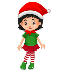 Cute girl wearing christmas costumes cartoon vector